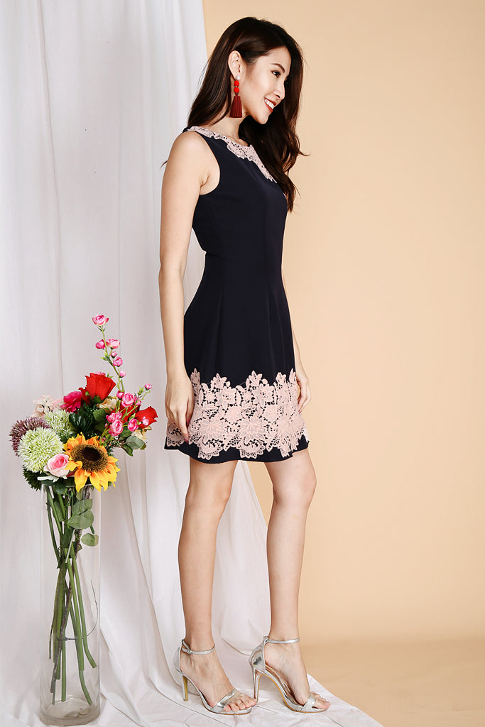 Joana Crochet On Edge Dress - Navy ( XS / S / M / L / XL ) *Premium