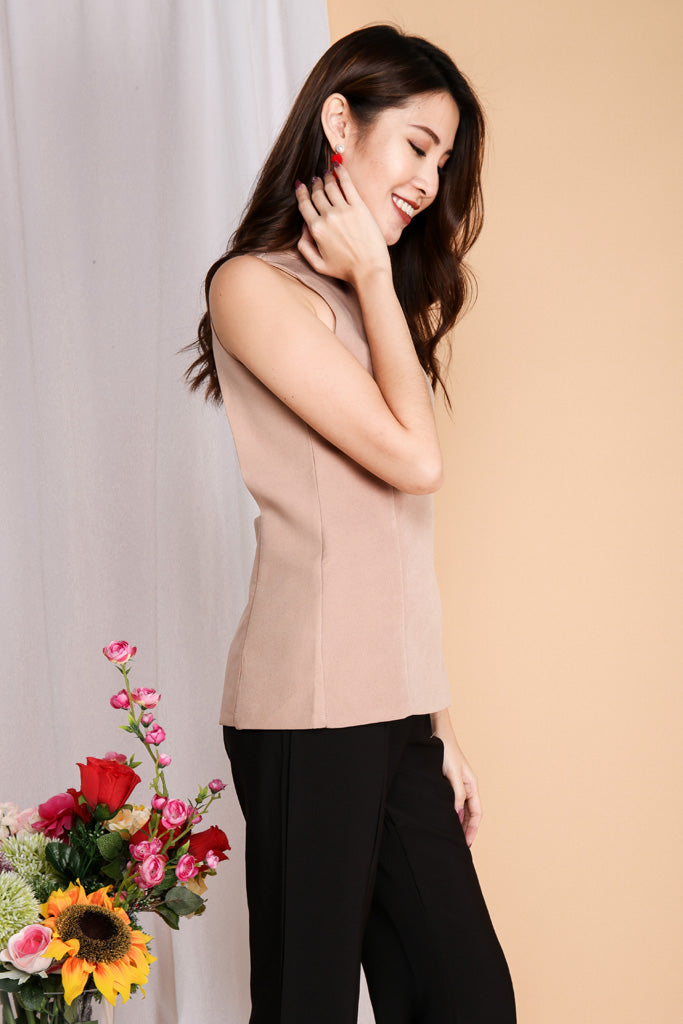 Jodi High Neck Sexy Back Top - Nude ( S / M )