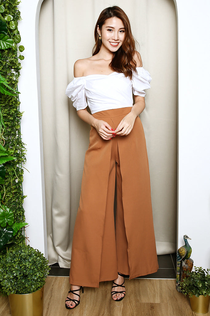 Devin Overlap High Waisted Pants - Toffee [S/M/L]