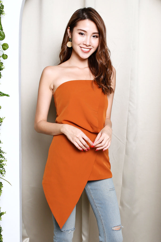 Alina Asymmetrical Tube Top - Apricot [S/M]