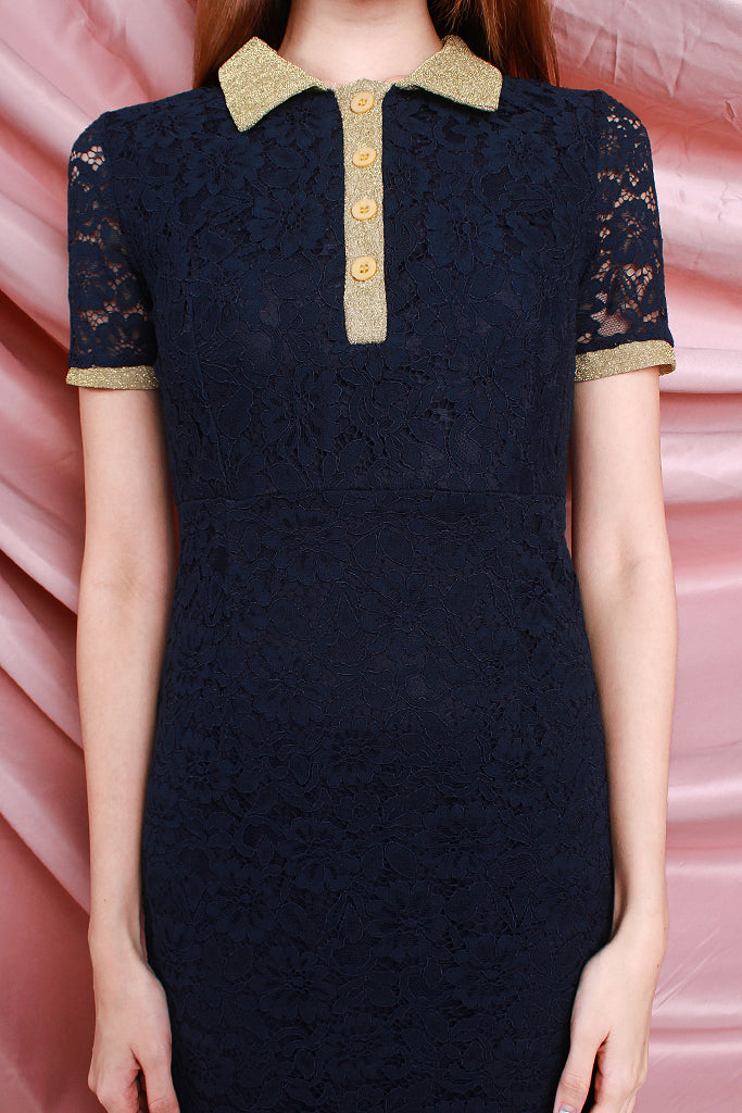Abi Preppy Lace Collared Dress - Navy [S/M/L]