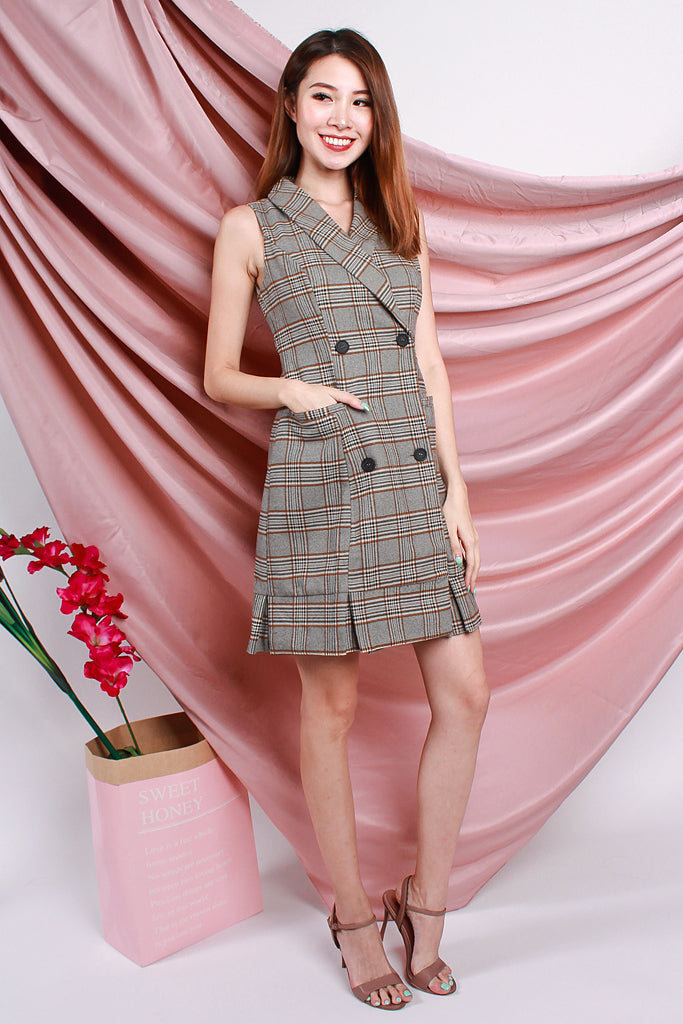 Thea All Seriousness Trench Dress - Brown Checked [S/M/L/XL]