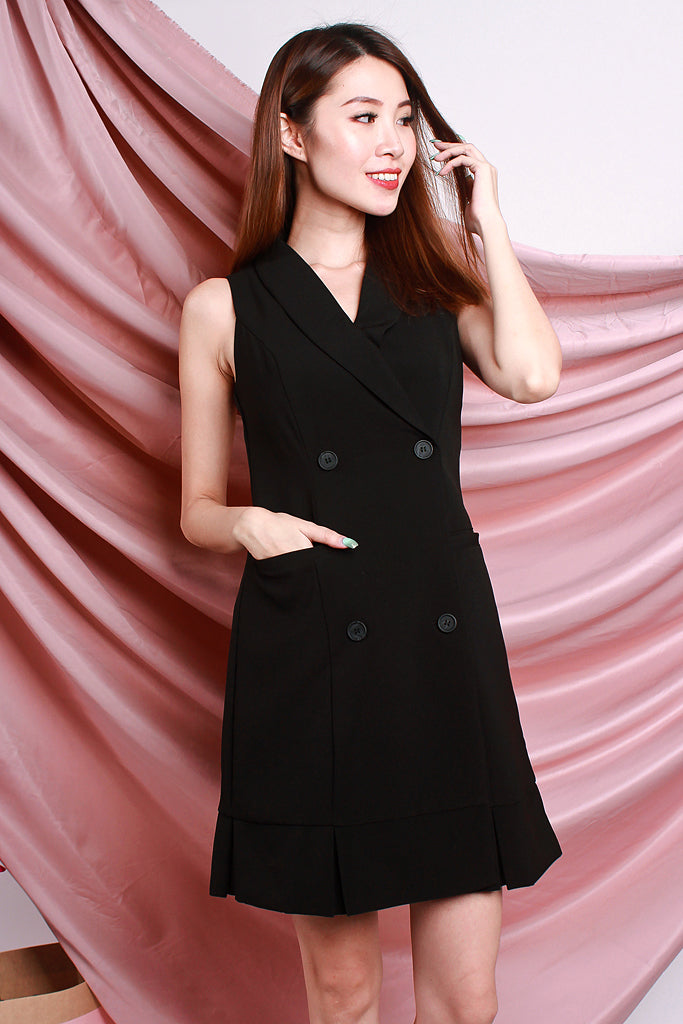 Thea All Seriousness Trench Dress - Black [S/M/L/XL]
