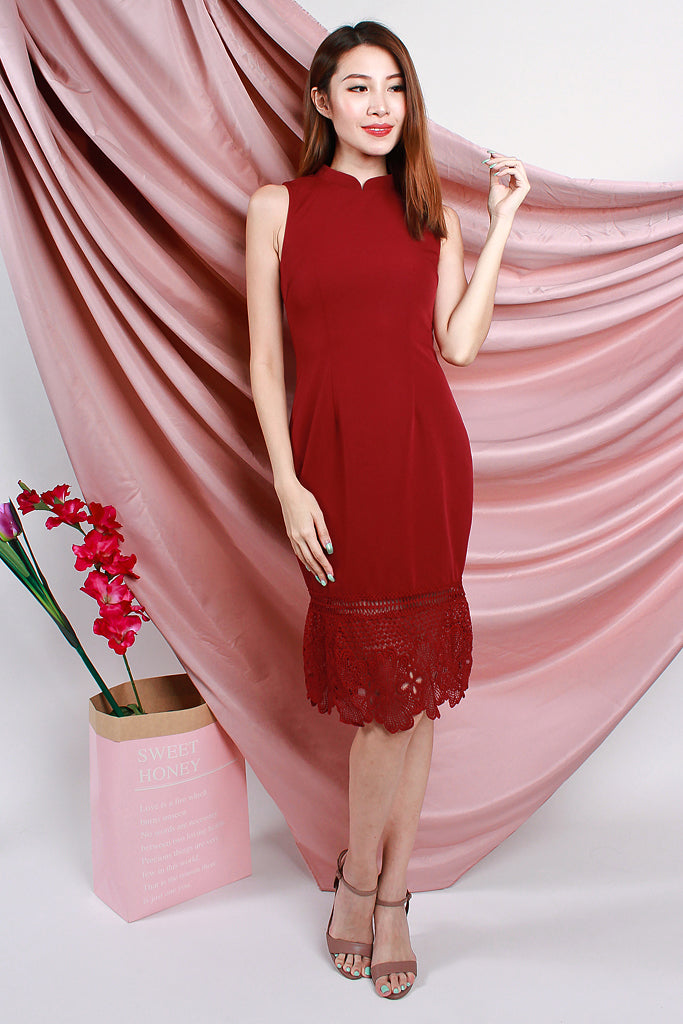 Ming Modern Detachable Mandarin Collar Dress - Red [S/M/L/XL]