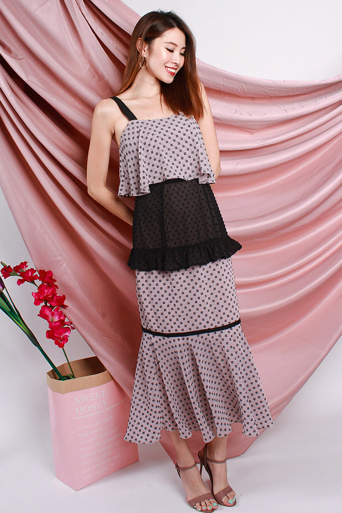 Candace Cupcake Dotted Tier Dress - Dusty Pink / Black [XS/S/M/L/XL]