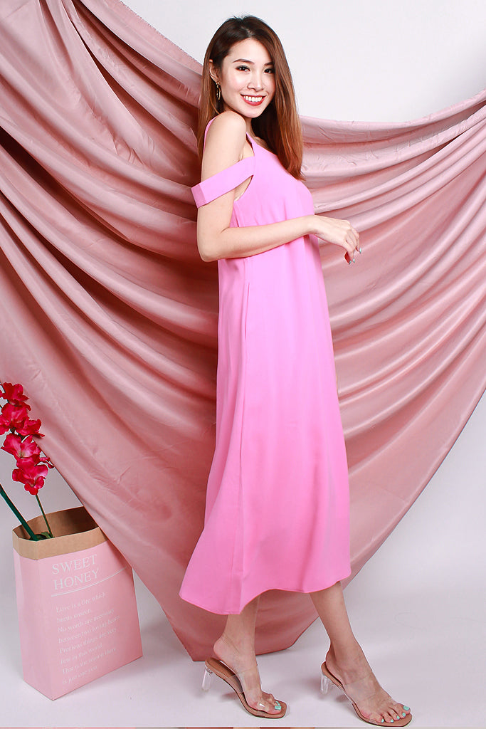 Lena Drop Shoulder Tie Dress - Barbie Pink [S/M/L]