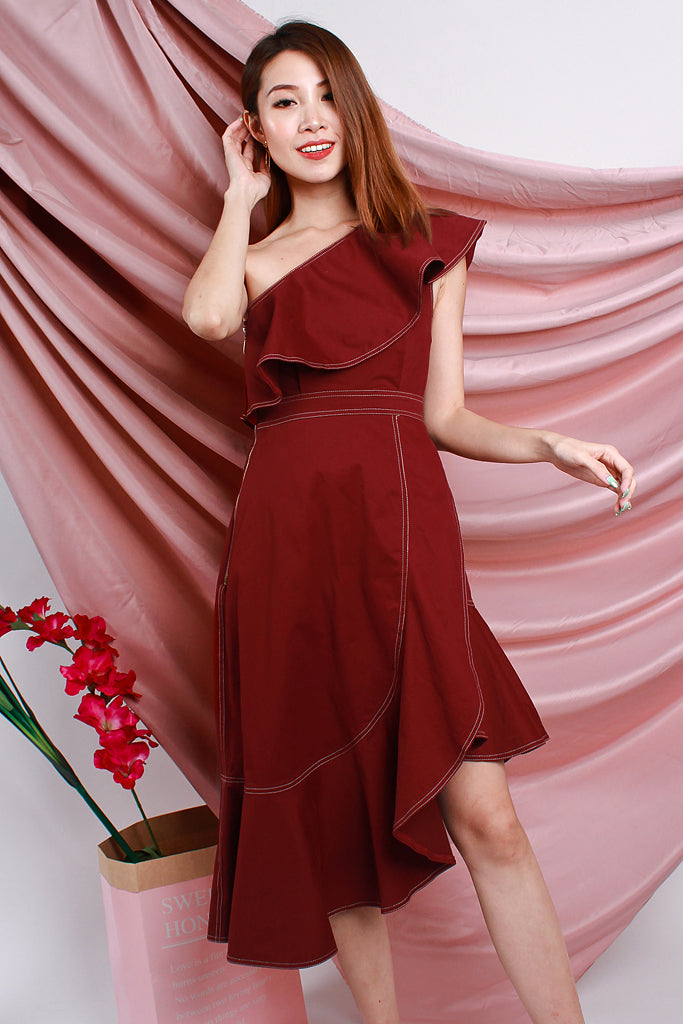 Kaia Stitch Outline Asymmetrical Dress - Wine [S/M/L/XL]