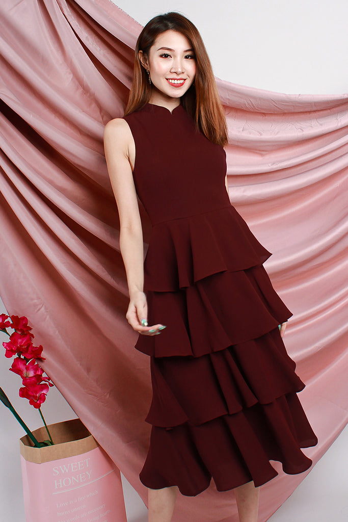 Nova Detachable Mandarin Collar Tier Dress - Wine [S/M/L/XL]