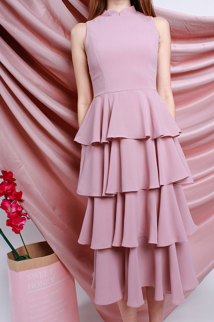 Nova Detachable Mandarin Collar Tier Dress - Dust Pink [S/M/L/XL]
