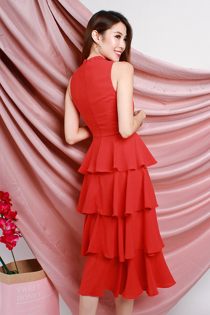 Nova Detachable Mandarin Collar Tier Dress - Red [S/M/L/XL]