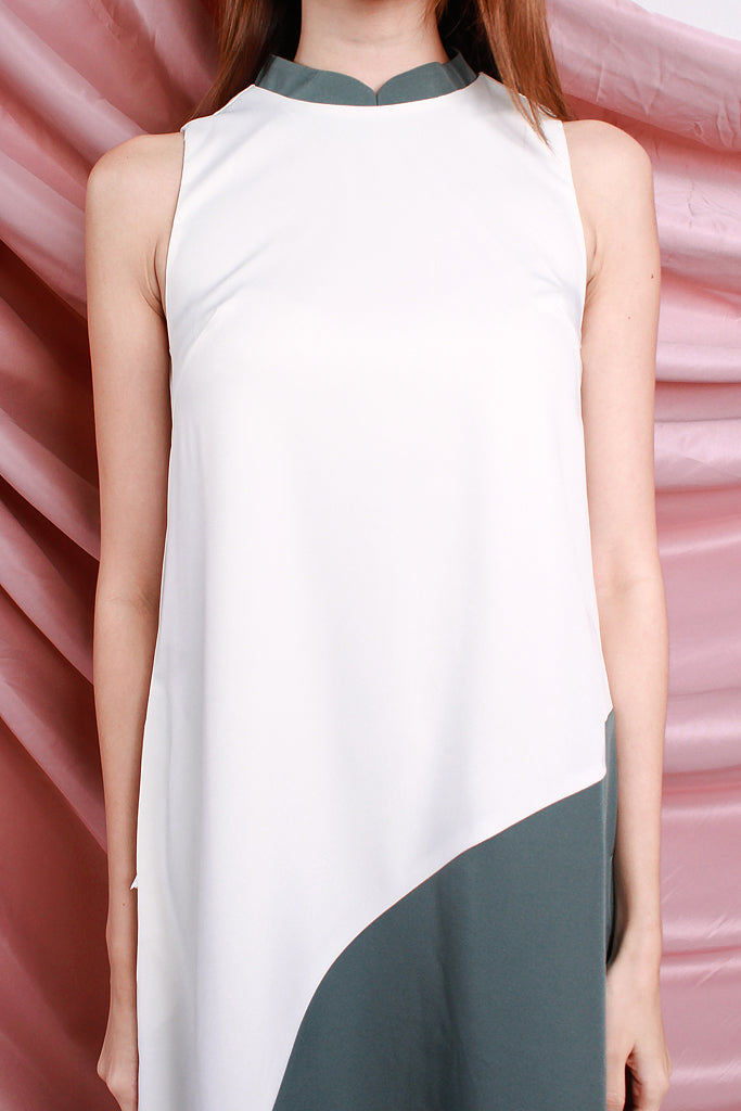 Emery Detachable Mandarin Collar Colourblock Dress - White / Sage [S/M/L/XL]