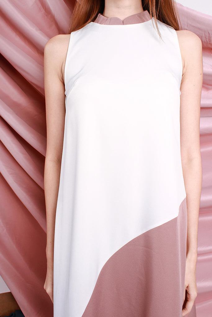 Emery Detachable Mandarin Collar Colourblock Dress - White / Pink [S/M/L/XL]