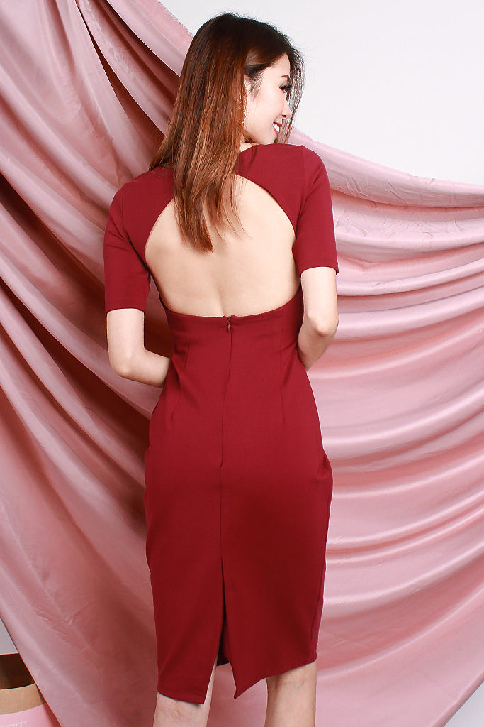 Kaylee Sexy Back Sleeved Dress - Wine [S/M/L]