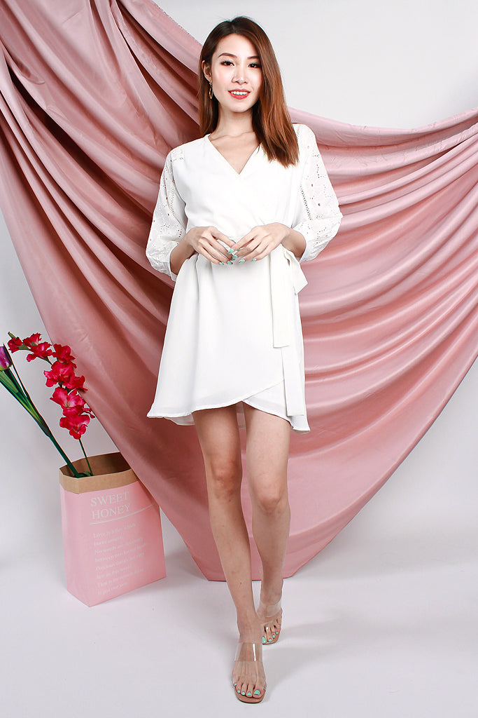 Isabelle Crochet Sleeved Wrap Dress - White [XS/S/M/L/XL]