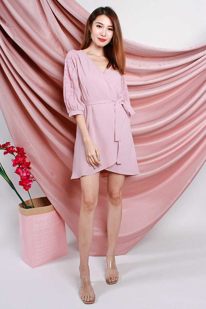 Isabelle Crochet Sleeved Wrap Dress - Dust Pink [XS/S/M/L/XL]