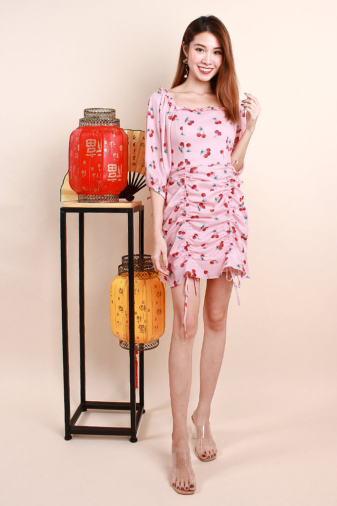 Dior Cherry Print Ruche Dress - Pink [XS/S/M/L/XL]