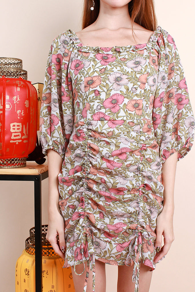 Isabel Floral Print Ruche Dress - [XS/S/M/L/XL]