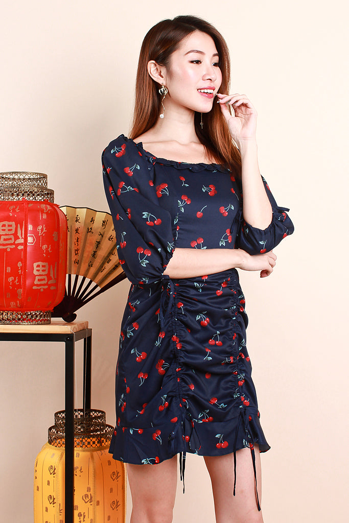 Dior Cherry Print Ruche Dress - Navy [XS/S/M/L/XL]
