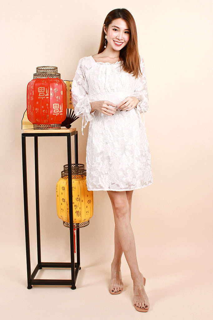 Li Ruffle Emboss Lace Dress - White [S/M/L/XL]