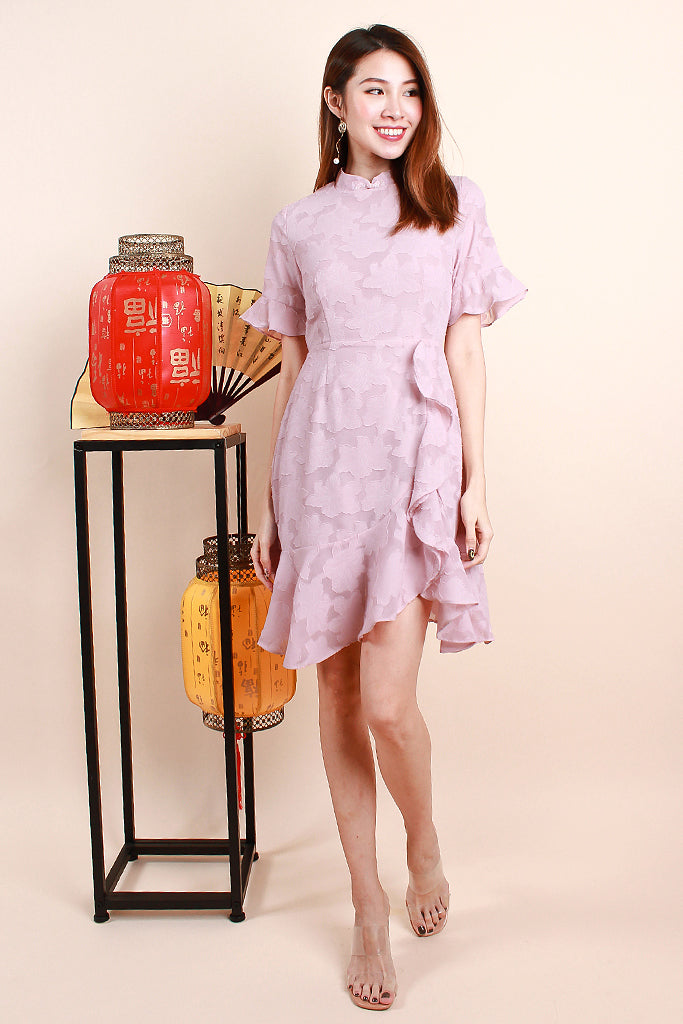 Chun Sleeved Lace Detachable Collar Dress - Dusty Pink [S/M/L/XL]