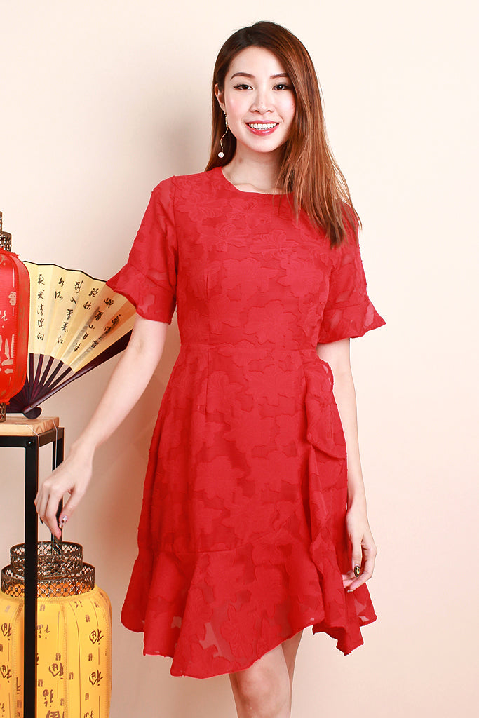 Chun Sleeved Lace Detachable Collar Dress - Red [S/M/L/XL]