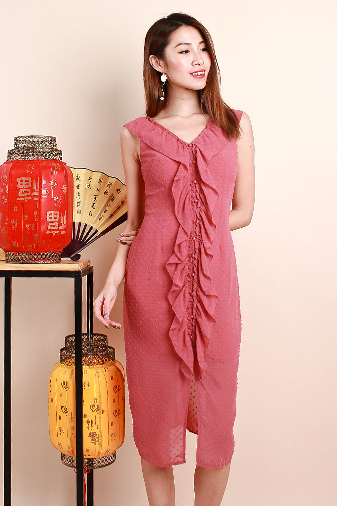Yara Swissdot Ruffle Down Dress - Tea Rose [XS/S/M/L/XL]