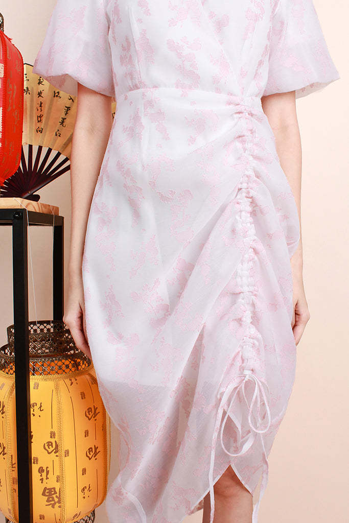 Sadie Embroidered Mesh Cinched V-neck Dress - Pink [S/M/L/XL]