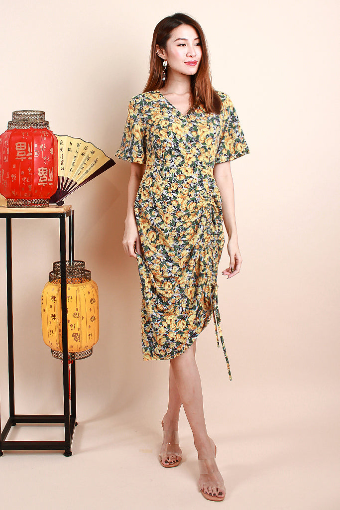 Dolce Cinched V-neck Dress - Yellow [S/M/L/XL]