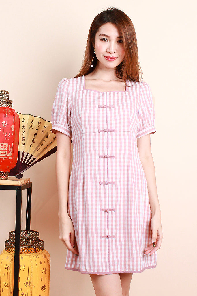 Juan Plaid Oriental Dress - Pink [S/M/L/XL]