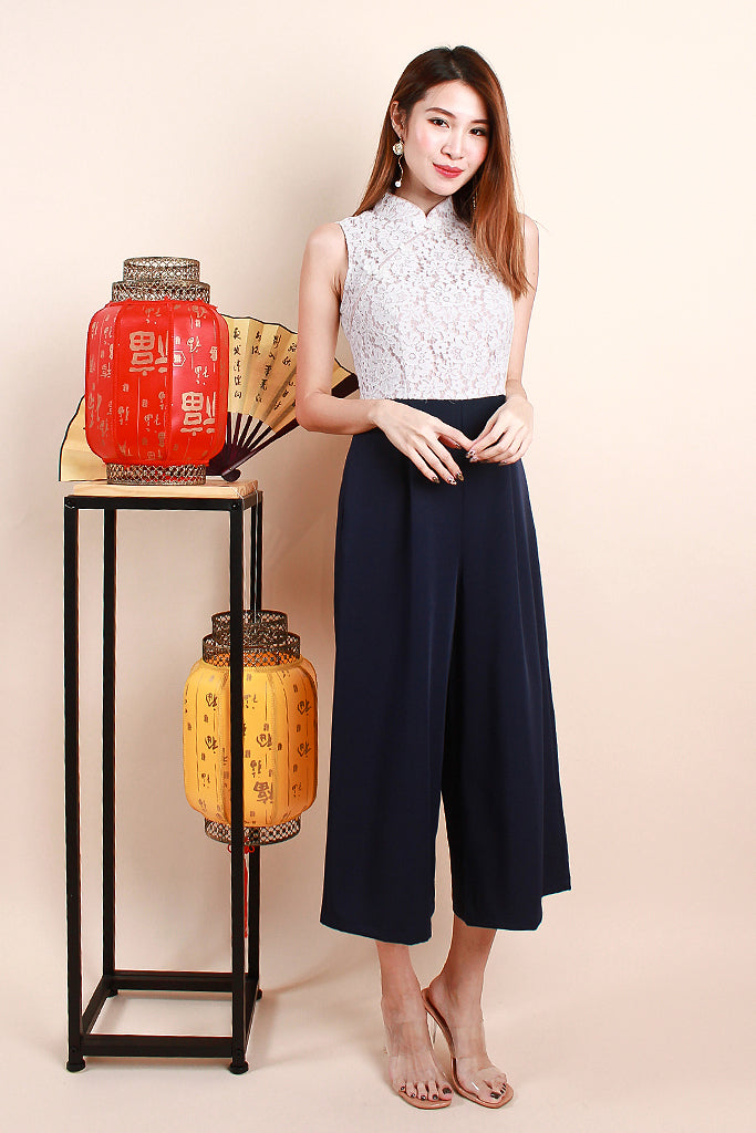 Zoey Mandarin Collar Lace Jumpsuit - White / Navy [S/M/L/XL]