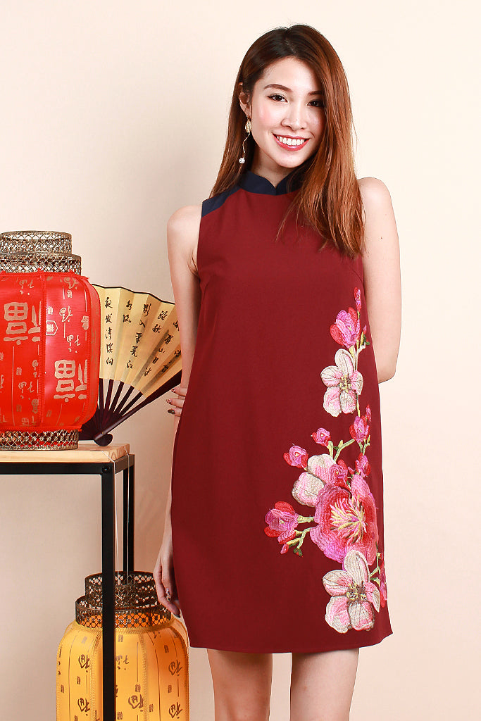 ETA 15 JAN 2021 -Yun Floral Embroidered Detachable Collar Dress - Wine / Navy [S/M/L/XL]
