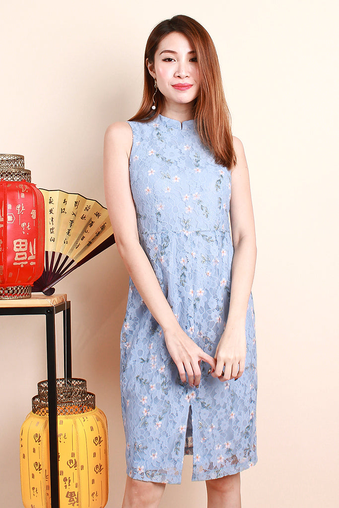 Jia Detachable Collar Floral Lace Dress - Sky [S/M/L/XL]
