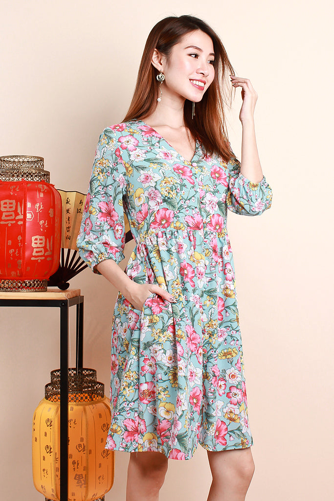 Corey Floral Print Sleeved Dress - Sky [S/M/L/XL]