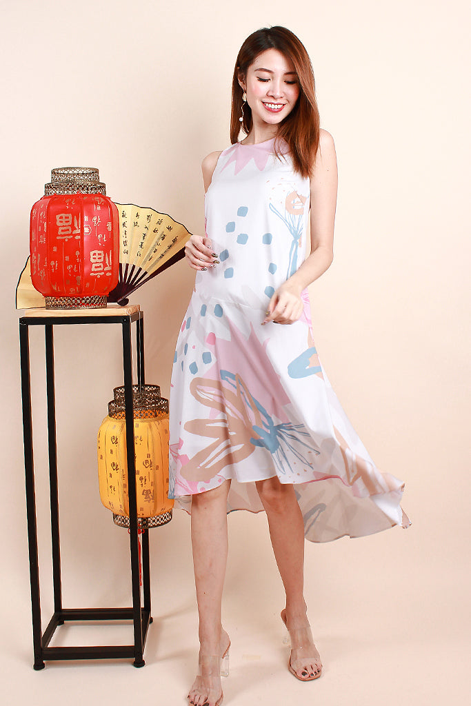 Carli Nature Abstract Print Dress - Pink [XS/S/M/L]