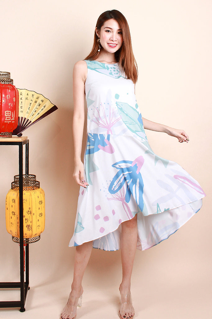 Carli Nature Abstract Print Dress - Blue [XS/S/M/L]