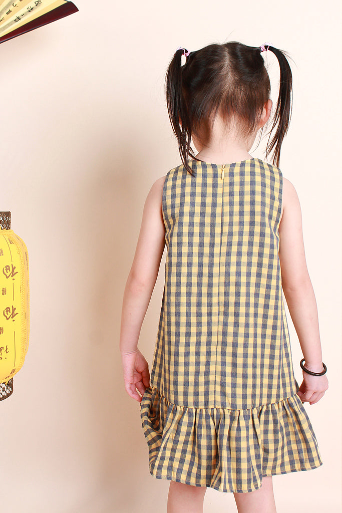 Juan Kids Plaid Oriental Dress - Yellow / Navy [12M/18M/2Y/3Y/4Y/5Y/6Y]