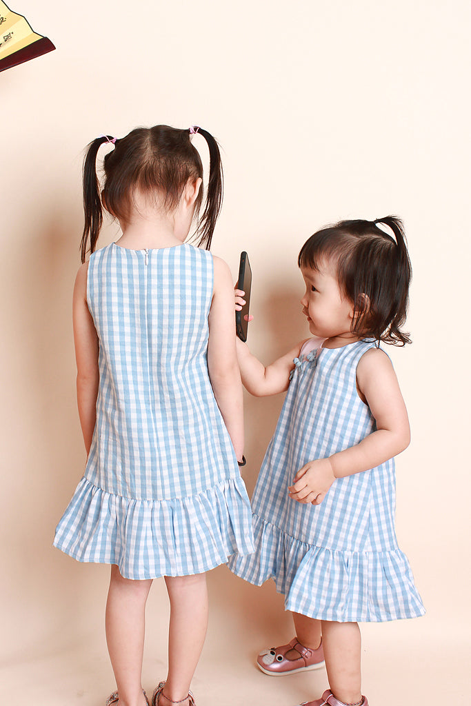 Juan Kids Plaid Oriental Dress - Sky / Pink [12M/18M/2Y/3Y/4Y/5Y/6Y]