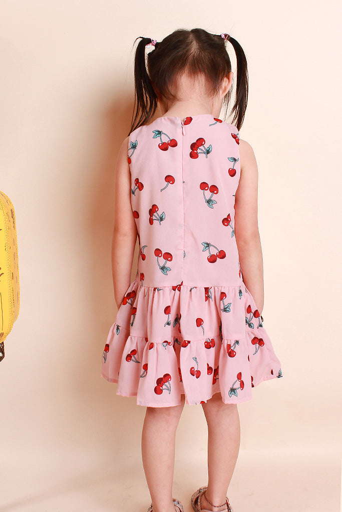Dior Kids Cherry Print Dress - Pink [12M/18M/2Y/3Y/4Y/5Y/6Y]