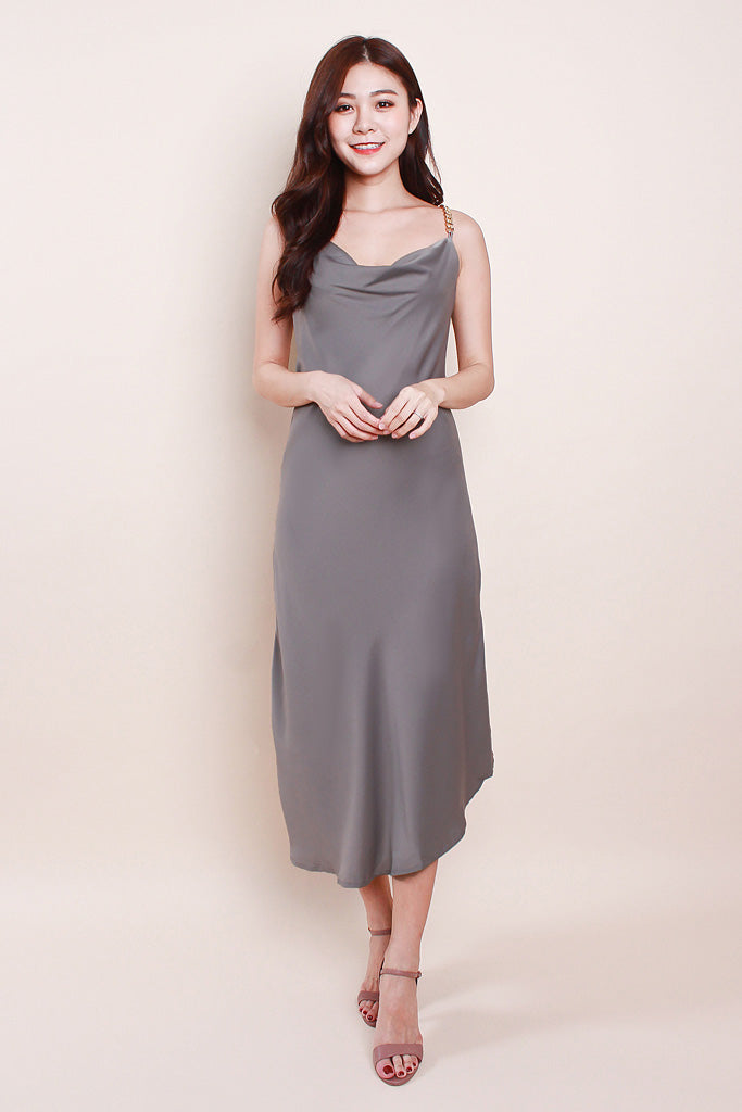 Raelyn Chain Cowl-Neck Luxe Dress - Grey
