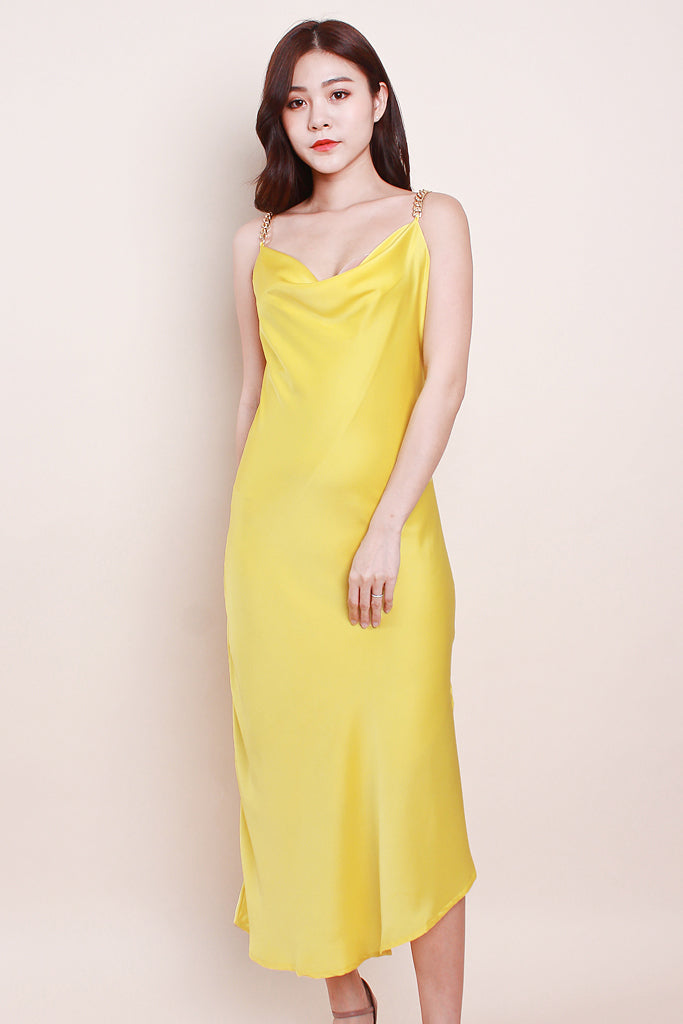 Raelyn Chain Cowl-Neck Luxe Dress - Yellow