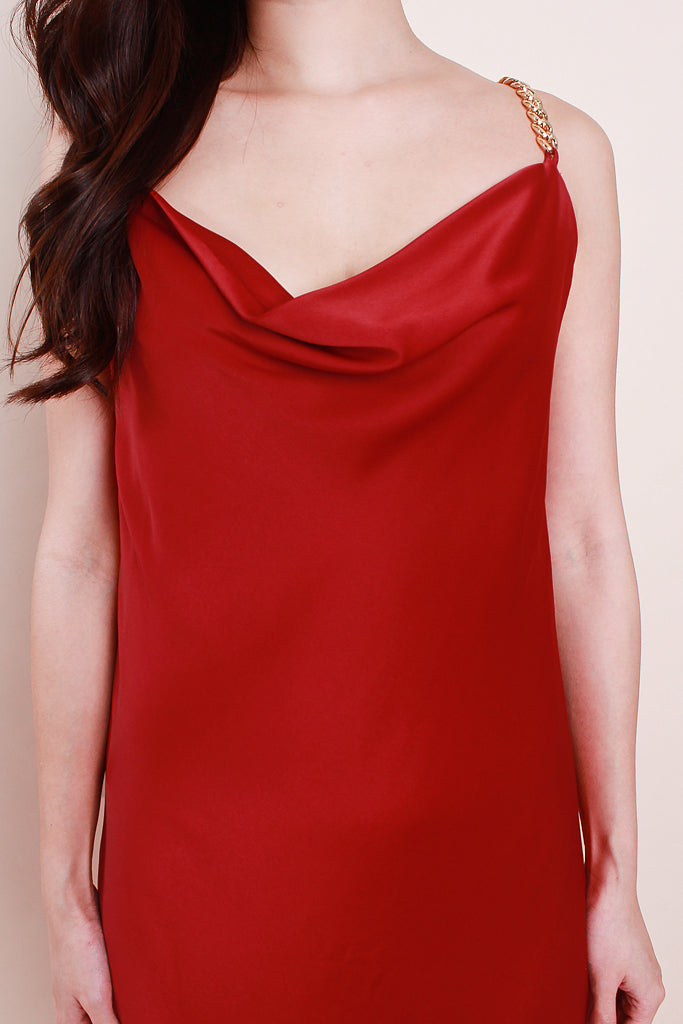 Raelyn Chain Cowl-Neck Luxe Dress - Wine