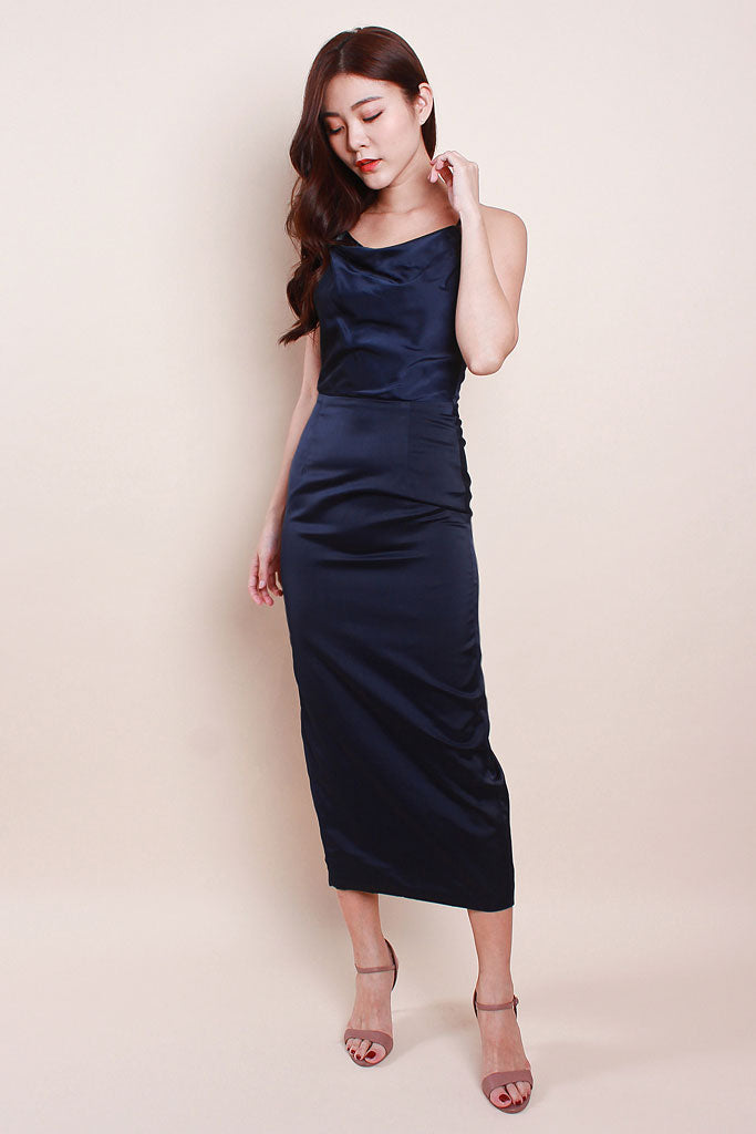 Valentina Luxe Cowl Neck Dress - Navy [S/M/L]