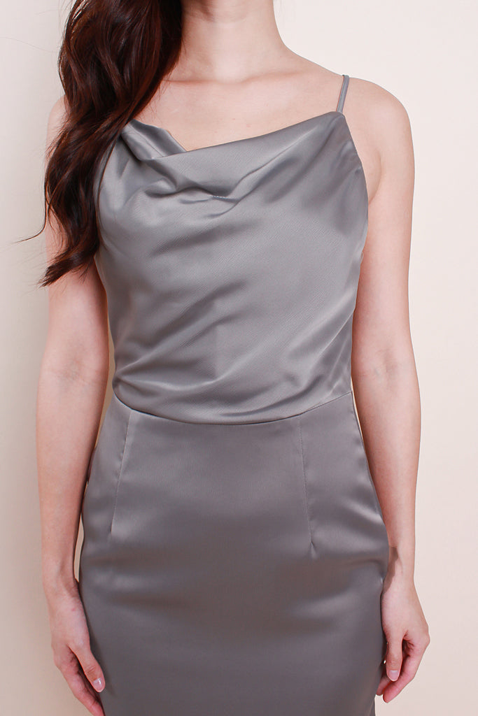Valentina Luxe Cowl Neck Dress - Grey [S/M/L]