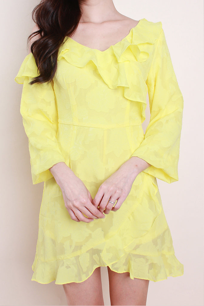 Jo Ruffles Asymmetrical Dress - Lemon [S/M/L/XL]