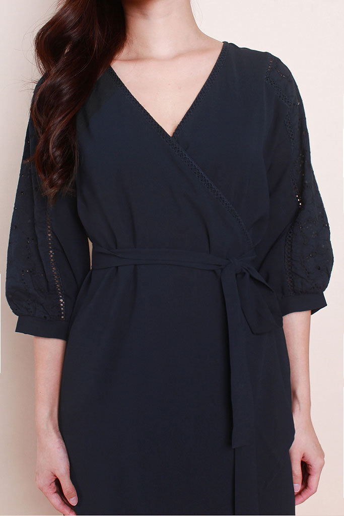 Isabelle Crochet Sleeved Wrap Dress - Navy [XS/S/M/L/XL]