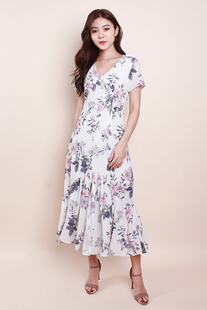 Ariel Floral Printed Button Midi - White [S/M/L/XL]