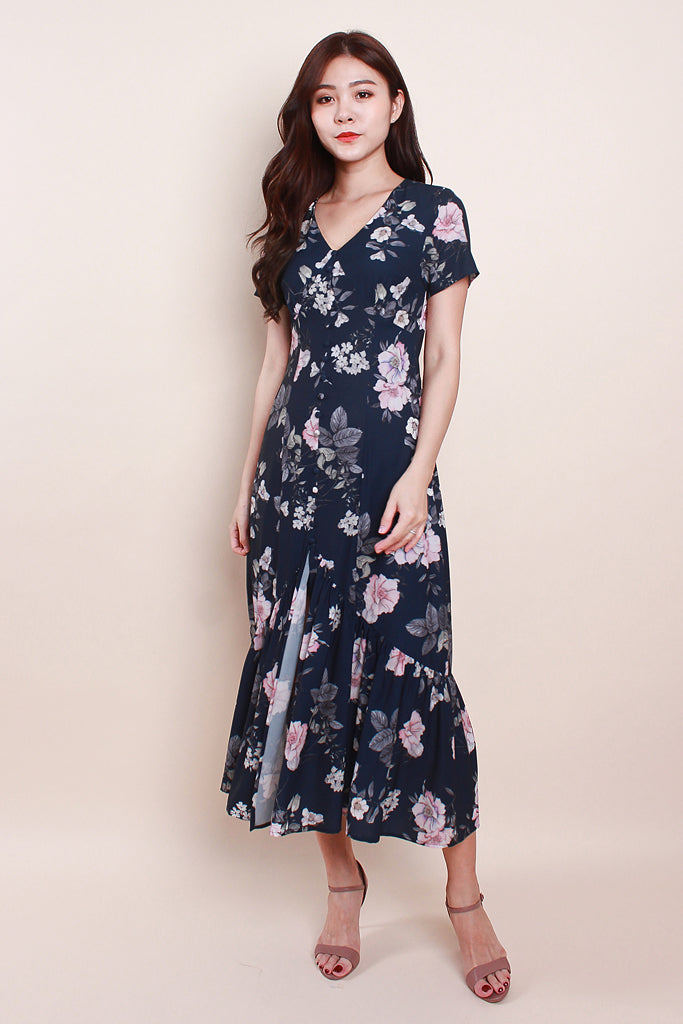 Ariel Floral Printed Button Midi - Navy [S/M/L/XL]
