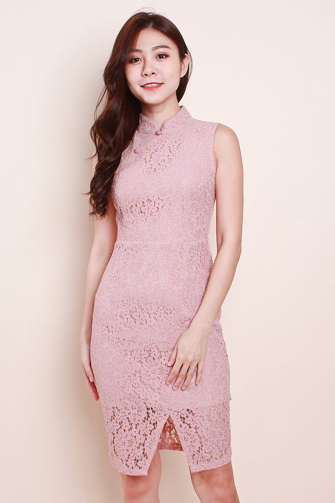 Ling Cheongsam Lace Dress - Pink [S/M/L/XL]