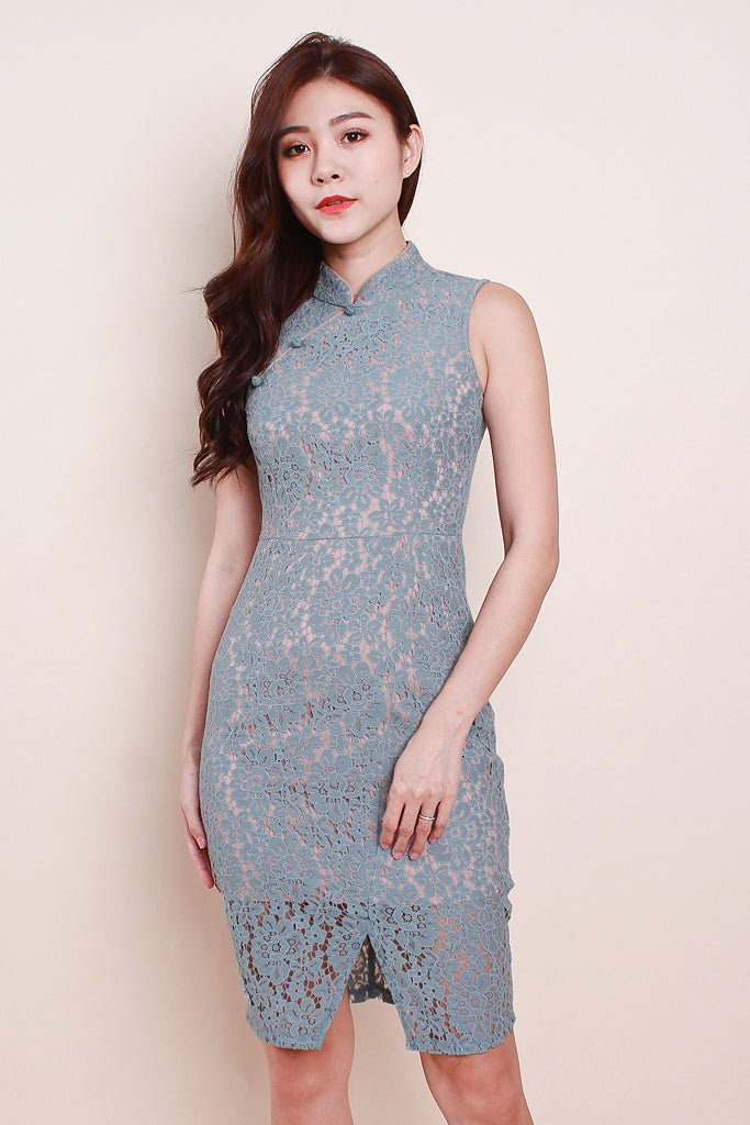 Ling Cheongsam Lace Dress - Blue [S/M/L/XL]