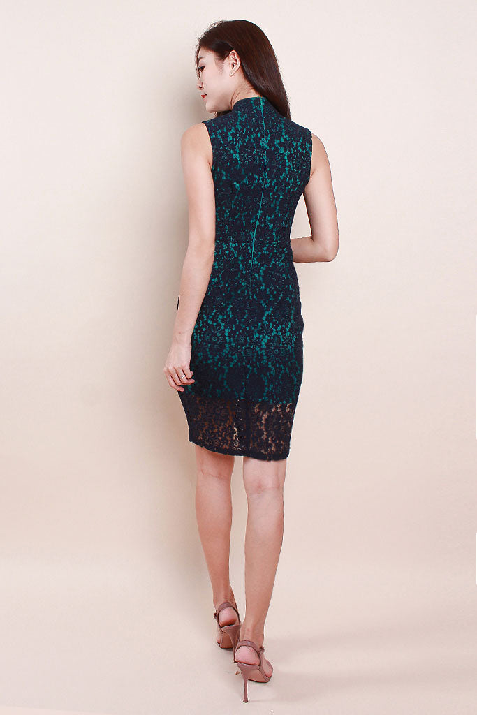 Ling Cheongsam Lace Dress - Navy [S/M/L/XL]